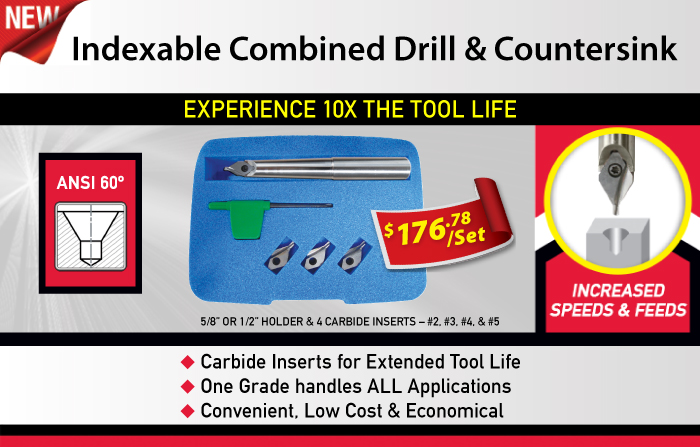 Combined Indexable Drill and Countersink